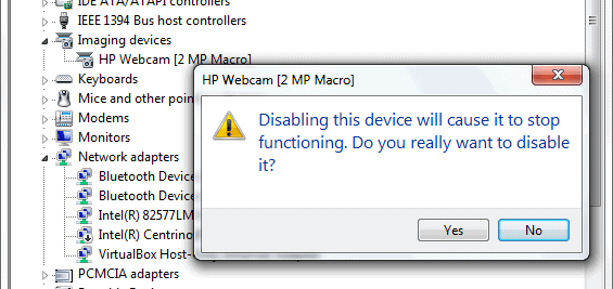 disable webcam